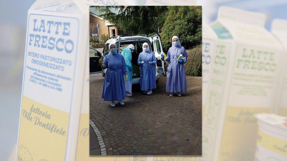 ĐTC tặng quà cho các nữ tu bị nhiễm virus corona