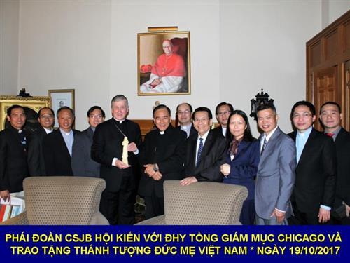 ĐHY Tổng Giám mục Chicago tiếp kiến phái đoàn CSJB Việt Nam ngày 19/10/2017