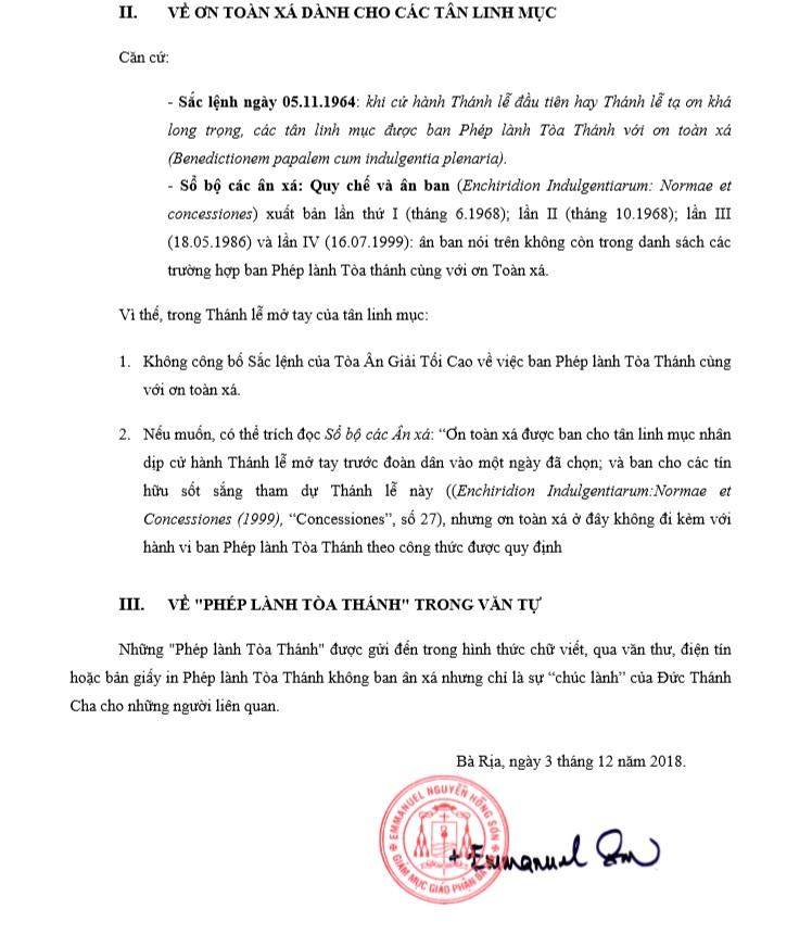 Thông báo về phép lành Tòa Thánh với ơn toàn xá